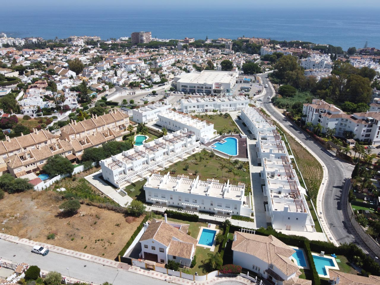 Aerial Drone Real Estate Photography - Urbanisation development in Calahonda, Mijas Costa, Spain